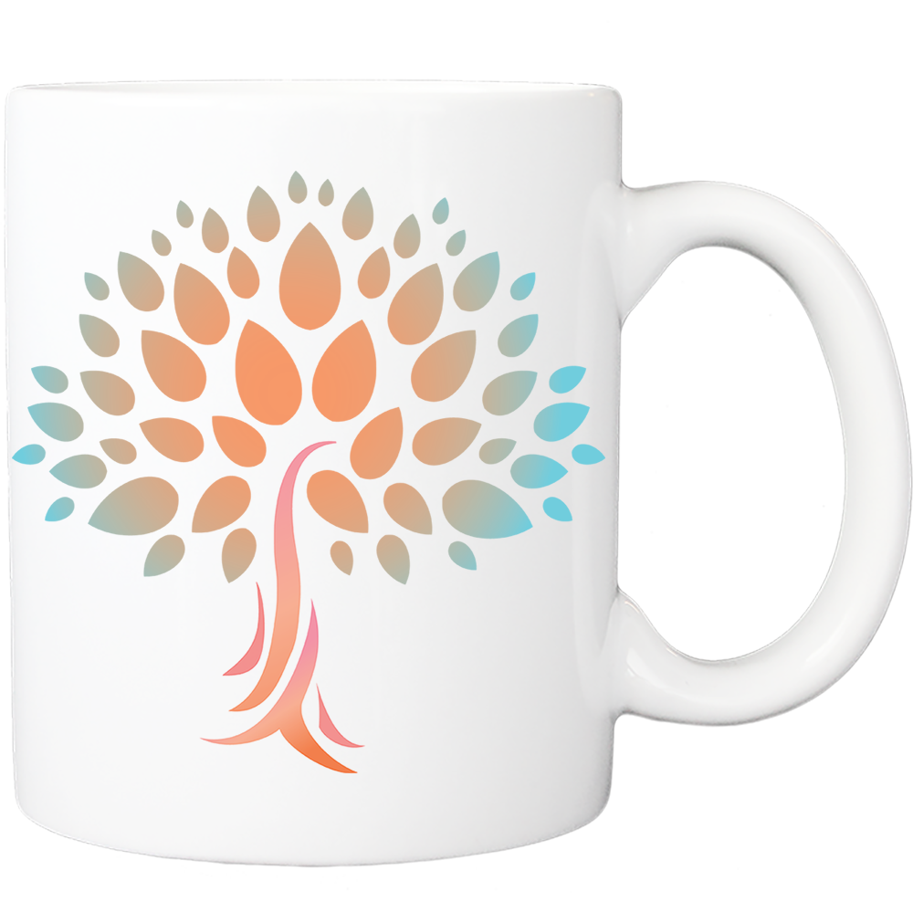Mug with Wish Yielding Tree Design in Peach and Turquoise