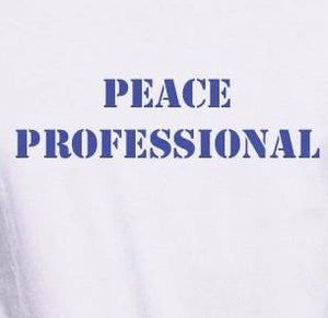 "Unisex Organic Hemp Blend T-Shirt with ""Peace Professional"" Design"