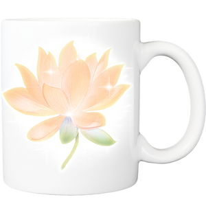 Mug with Peach Lotus Design