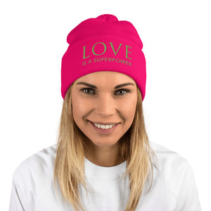 'Love is a Superpower' Pom-Pom Beanie