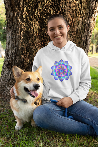 'Blue Rose Mandala' Organic Cotton Hoody