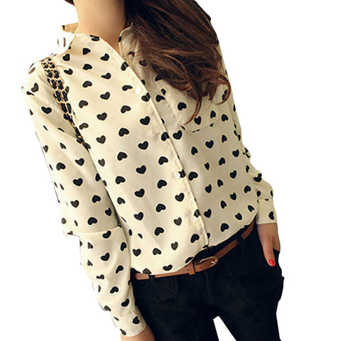 New Women Chiffon Blouses Lapel Collar LongSleeve