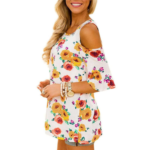 Cold Shoulder Vintage Floral Top