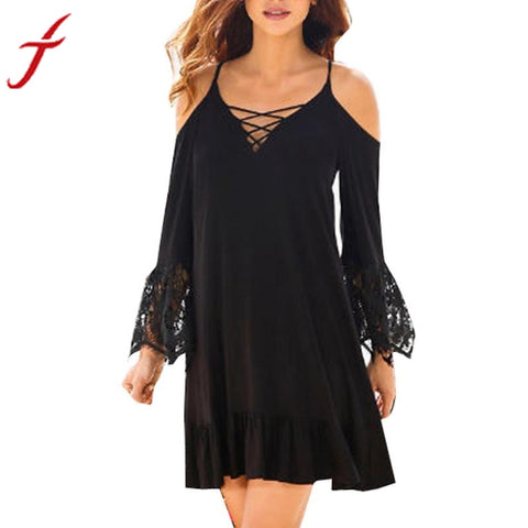 Off The Shoulder Lace Long Sleeve Mini Dress