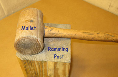 Hand ramming rocket tools, mallet and post.