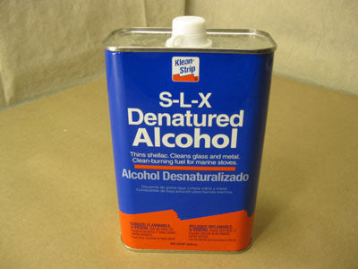 A can of Klean-Strip S-L-X denatured alcohol.