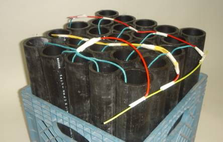 Artillery shell Rack Loaded with Chained Artillery Shells