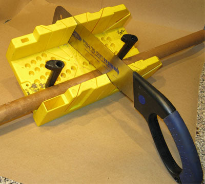 Cutting a Tube, Held in Place with Cams, Using the Miter Box and Pull-Saw