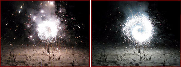 Silver glitter and titanium spark saxon firework effects.