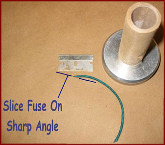 Cutting visco fuse on angle