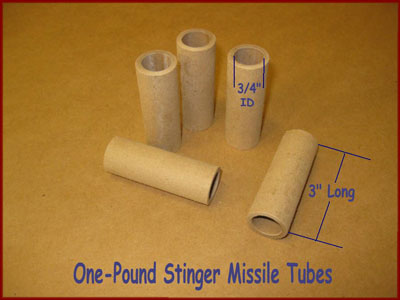 Paper one pound stinger missile rocket tubes