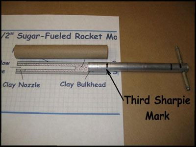 sugar rocket tooling with 3rd alignment mark on rammer