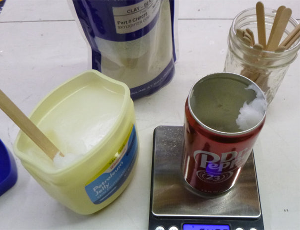 Weighing vaseline for making model rocket nozzle mix