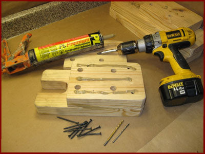 drilling, gluing and screwing wooden arbor press base pieces together