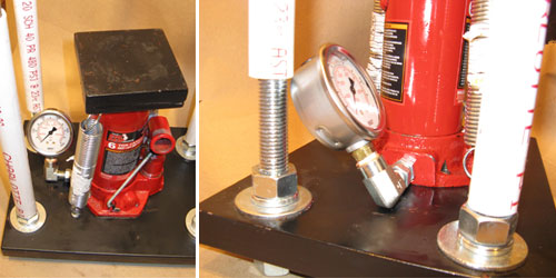 Hydraulic Bottle Jack With Gauge, Installed On Rocket Press