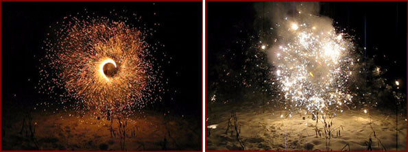 Charcoal and gold glitter saxon firework effects.