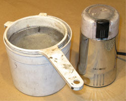 Screen Colander, Bucket, and Coffee Grinder for Milling and Mixing Gerb Fuels