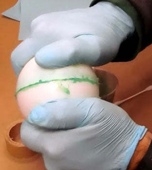 closing firework shell halves glued with thickened methylene chloride