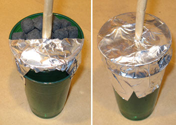 4-Inch Plastic-Cup Mine Sealed With Aluminum-Foil Duct-Tape, and Ready to Be Fired