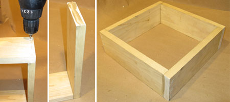 Pre-Drilling Holes, Gluing, and Nailing 1x4 Wood Screen Frame Together