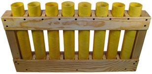 Perpendicular Fiberglass Mortars in Wooden Racks