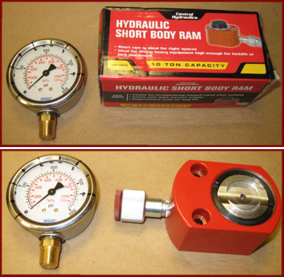 10 Ton Short Body Ram and Hydraulic Pressure Gauge