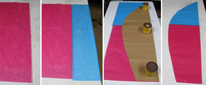 Tissue Papers Glued Up and Cut to Form Balloon Panels