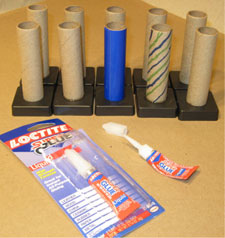 Mortar tubes glued into plastic bases