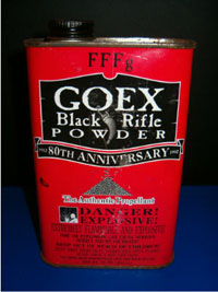A can of FFFg Goex brand black powder.