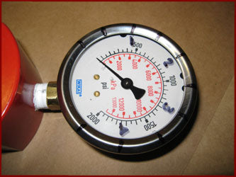 Marking the actual force on a hydraulic pressure gauge installed on a ram