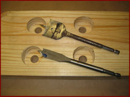 spade bits used to drill recessed holes