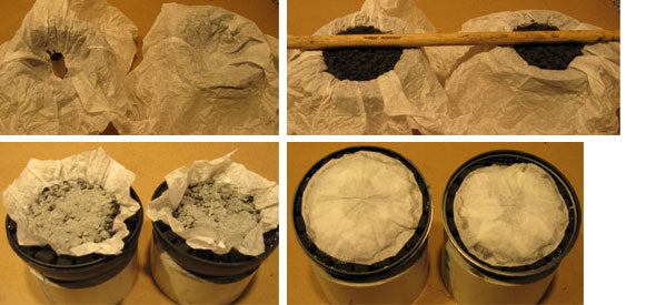 Tissue Paper Lining and Filling Shell Casings with Burst Powder