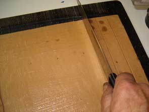 Cutting Pasted Paper into 1 Inch Wide Strips