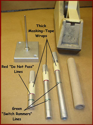 rocket tooling with masking tape markers