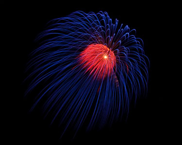Blue firework shell with red center