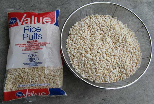 Sift Dust Out of Puffed Rice with Colander Screen