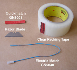 Materials needed to attach electric matches to visco fuse