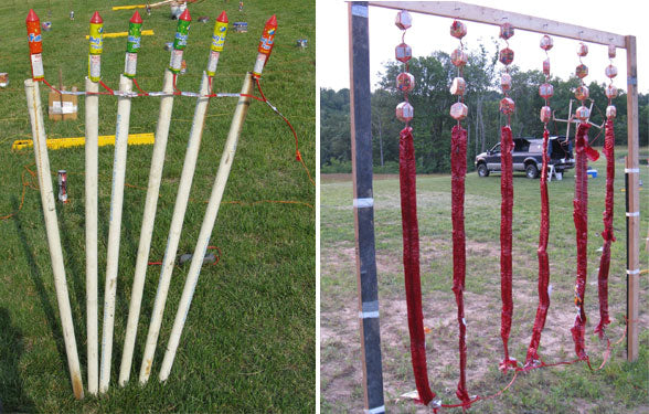 Chain Fused Rockets in Rack, and Firecracker Wall