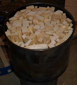 Stock pot filled with wood
