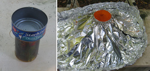 Aluminum Foil Volcano Made With a Shallow Tuna Can