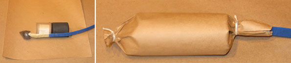 Kraft Paper Wrapping the Comet, Piston, and Lift Charge