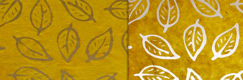 View Full Range of Products in B107 - Batik Leaf on Yellow