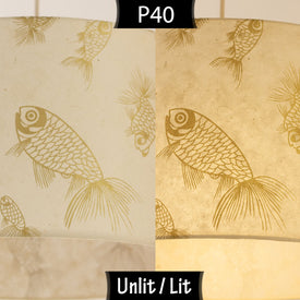 P40 Gold Screen Printed Fish on Natural Lokta