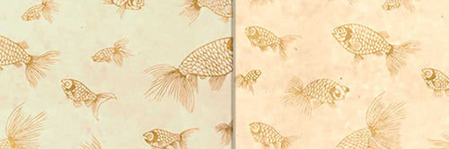 View Full Range of Products in P40 - Gold Fish Screen Print on Natural Lokta