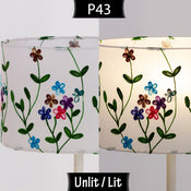 P43 ~ Embroidered Flowers on White
