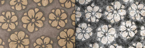 View Full Range of Products in P77 - Batik Star Flower on Grey