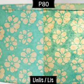 P80 Batik Star Flowers on Mint Green Lokta