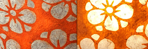 View Full Range of Products in P94 - Batik Star Flower on Orange