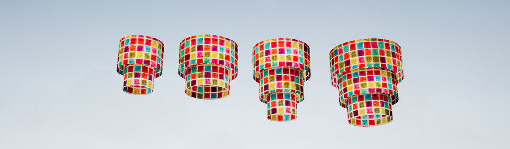 Tiered Pendant Lamp Shades, Handmade in many stunning designs. Rigidly Backed.