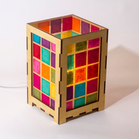 laser cut plywood table lamp in batik multi square